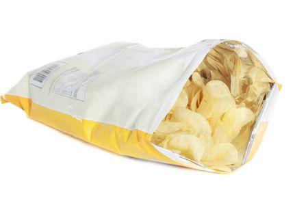 bag of potato chips isolated on white background Standard-Bild