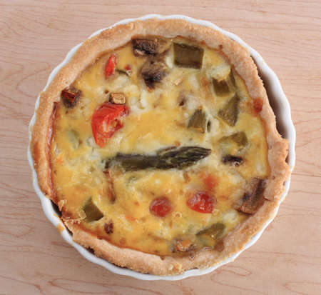 homemade vegetable egg pie over a wood plank Stock Photo - 5681917