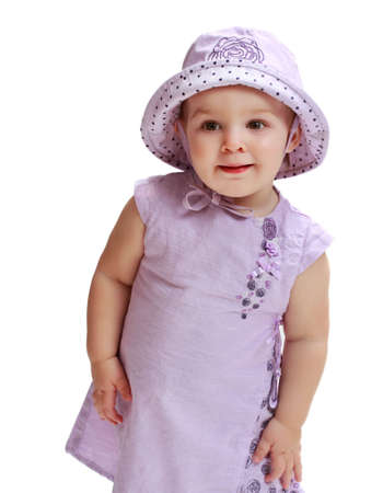 cute toddler girl wearing purple hat and dress Stock Photo - 5772608