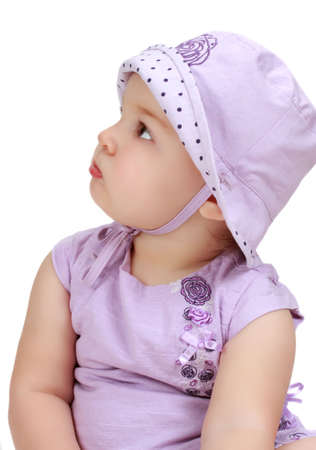 cute toddler girl wearing purple hat and dress Stock Photo - 5772615