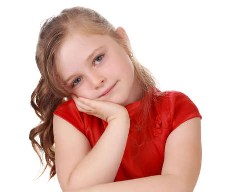 cute little blond girl isolated on white background Reklamní fotografie