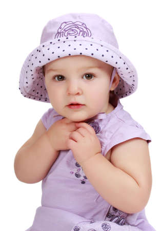 cute toddler girl wearing purple hat and dress Stock fotó