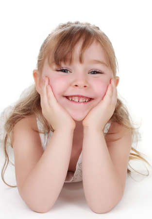 cute little blond girl isolated on white background photo