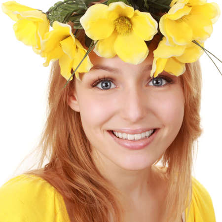 fake smile: portrait of a beautiful young blond woman