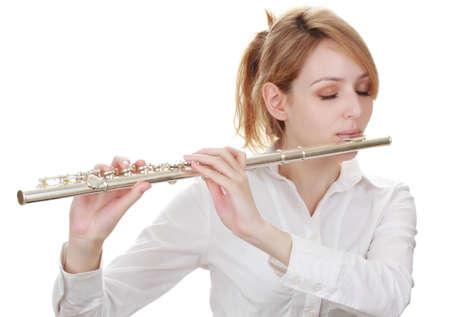 beautiful blond woman holding a flute Stock Photo