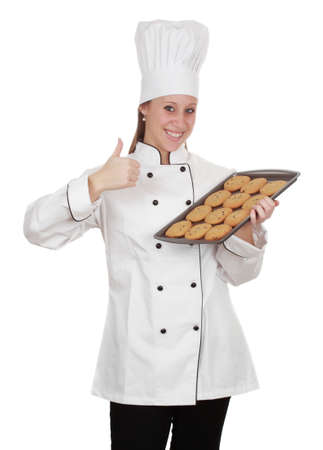 profesional: woman wearing chef cook uniform, white background