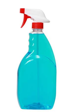 limpiadores: botella de vidrio azul limpiador aislado en blanco