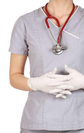 close-up van verpleegster dragen van latex hand schoenen, witte achtergrond  Stockfoto
