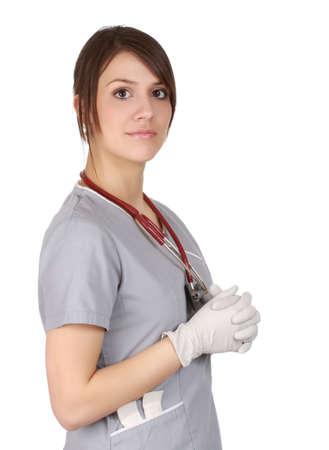 Verpleegkundige dragen latex handschoenen, witte achtergrond Stockfoto