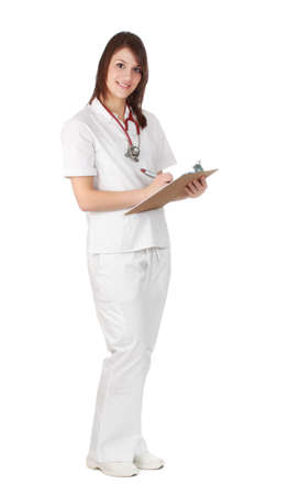 nurse in uniform writing some note, white background