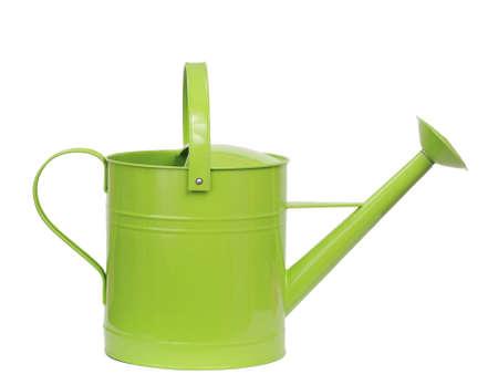 白で隔離される緑の水まき缶