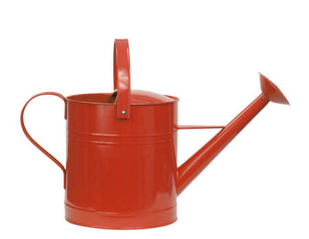 wateringcan: red watering can isolated on white Stock Photo