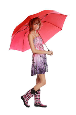 rubber: cute young woman holding a red umbrella, white background
