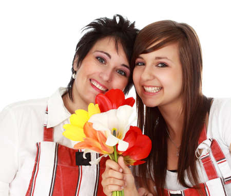 mother and daughter with flowers, white background