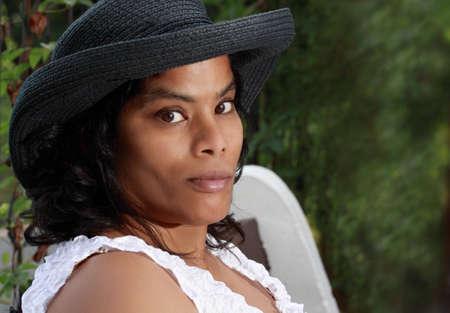 metis: closeup portrait of a young metis woman Stock Photo