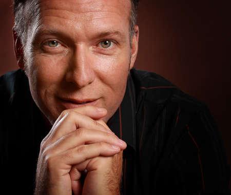 closeup portrait of a nice middle age man