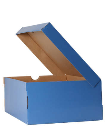 nice blue cardboard shoe box, isolated on white background