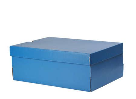nice blue cardboard shoe box, isolated on white background  photo