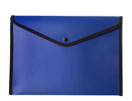 blue pocket portfolio envelope, isolated on white background