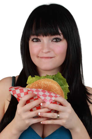 closeup on a cute girl holding a sandwich, white background photo