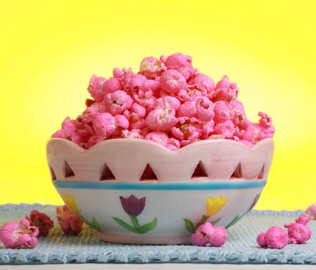 sweet pink popcorn in a fancy bowl
