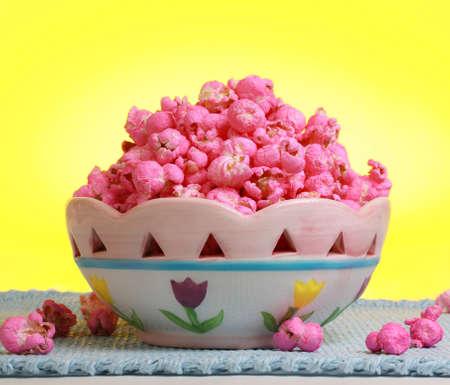 sweet pink popcorn in a fancy bowl