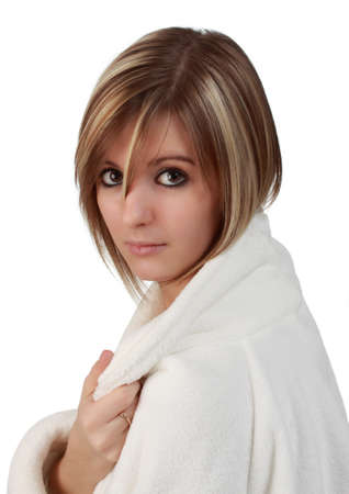 closeup portrait of a young woman in bathrobe  Stok Fotoğraf