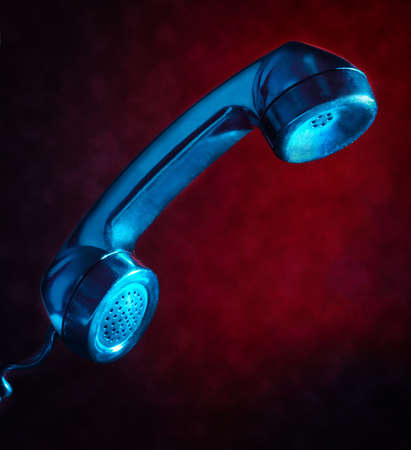 closeup on blue handset phone Stock Photo - 8991863
