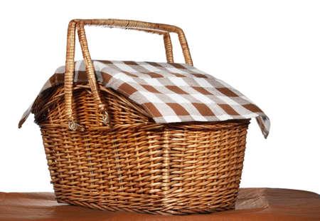 basket: nice wicker picnic basket, white background Stock Photo