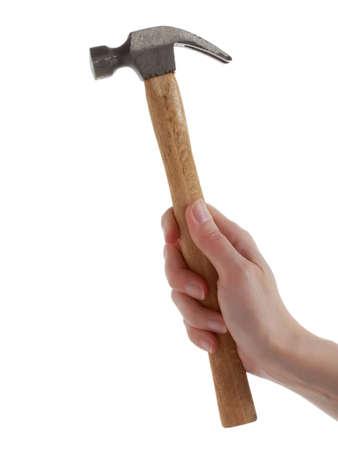 Frau Hand holding Hammer, isoliert auf weiss Standard-Bild - 8991866