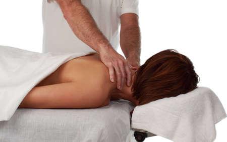 closeup on woman receiving massage photo
