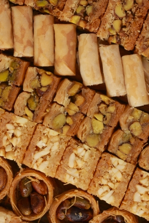 closeup on baklava pastry with cashew and pistachio