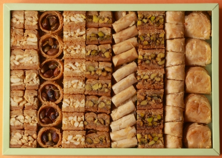 topview of a box filled with variety of baklava Imagens