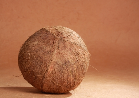 image of a simple  whole raw natural coconut