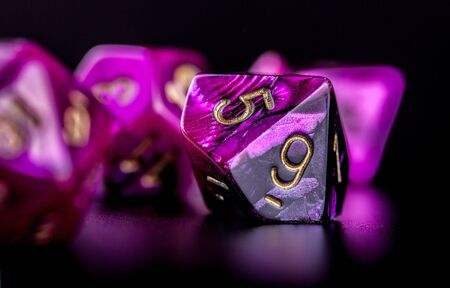 Closeup on set of dice for role playing games, black background Reklamní fotografie