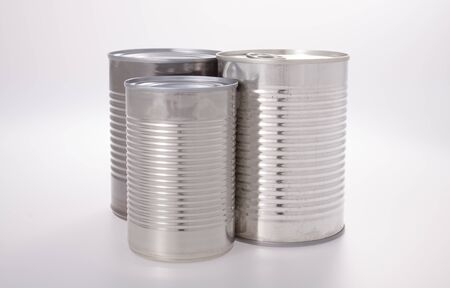 Aluminum shiny food can without label isolated on white Reklamní fotografie