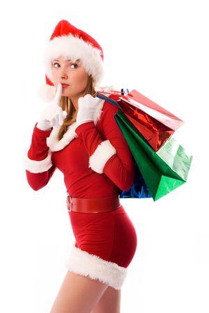 beautiful girl dressed like Santa with Christmas presents Stock Photo - 3771999