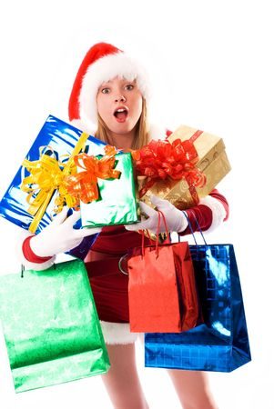 girl dressed as Santa with a lot of Christmas presents Stock Photo - 3772026
