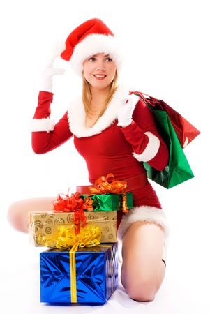 bring: beautiful  girl dressed as Santa with Christmas presents