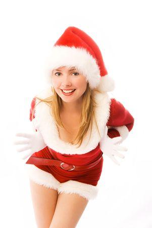 beautiful cheerful girl dressed as Santa Stock Photo - 3771996