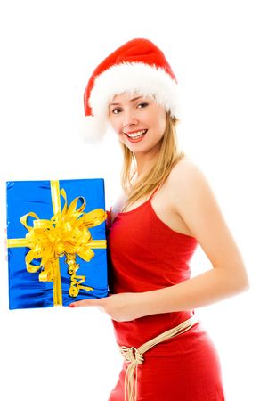 pretty girl holding a box with a Christmas present Stock Photo - 3772012