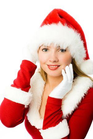 beautiful blond girl dressed as Santa photo