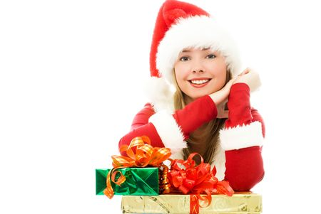 happy girl dressed as Santa with Christmas presents Stock Photo - 3773694