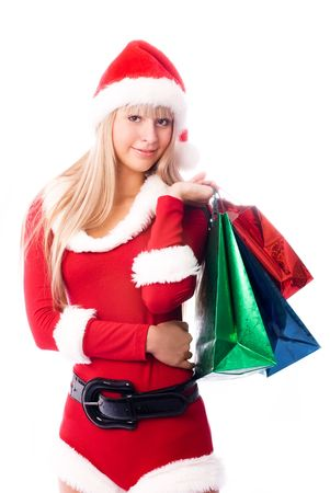pretty girl dressed as Santa with shopping bags Stock Photo - 3783978