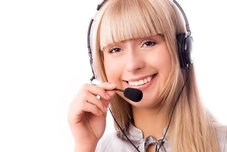 beautiful woman working in the call-center photo