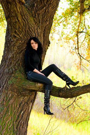 arbol de problemas: morena linda ni�a sentada en el �rbol Foto de archivo