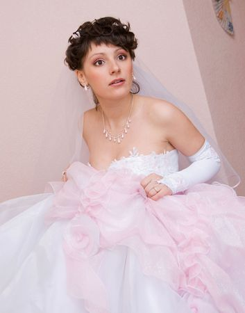 portrait of a scared beautiful bride photo