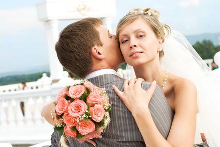 happy bride and groom outdoor photo