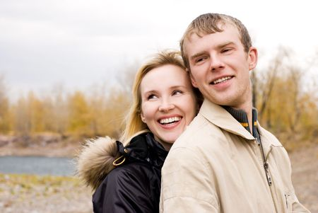 happy young couple in the park photo