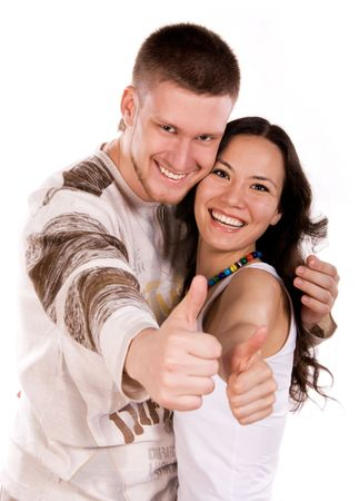 happy couple with their thums up Stock Photo - 3784152